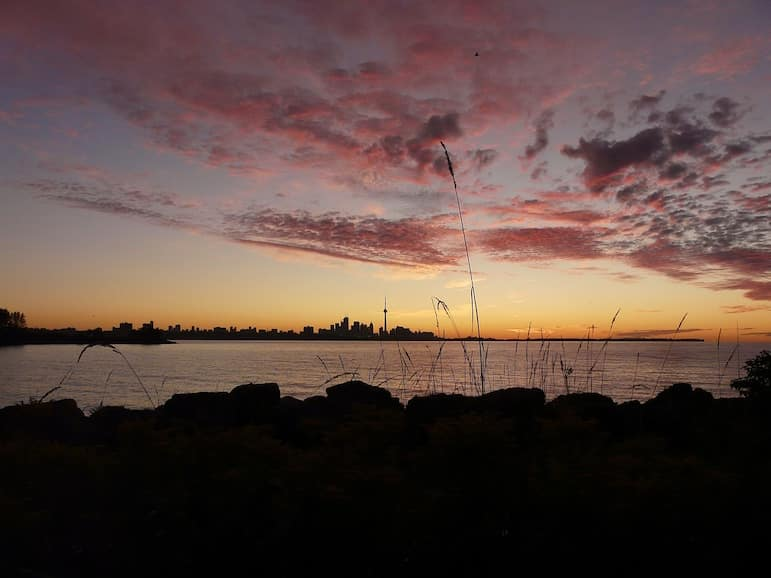 The Toronto Islands are the best place for capturing the city skyline and CN Tower