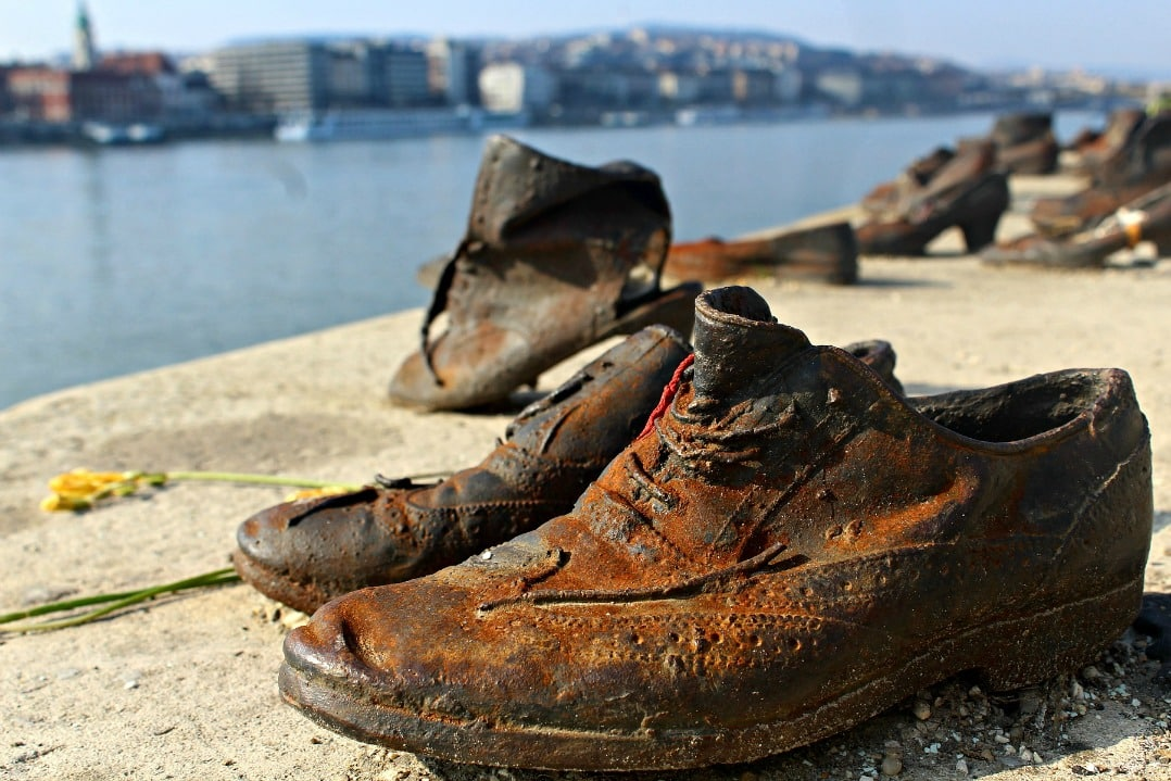 These shoes on the bank of the River Danube Budapest, are a memorial to a massacre during WWII