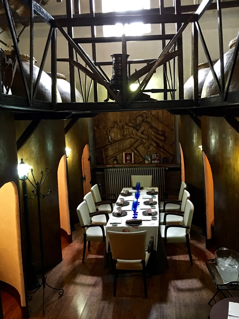 Converted wine vats make discreet dining areas at Meson de Bodega, in Daimiel