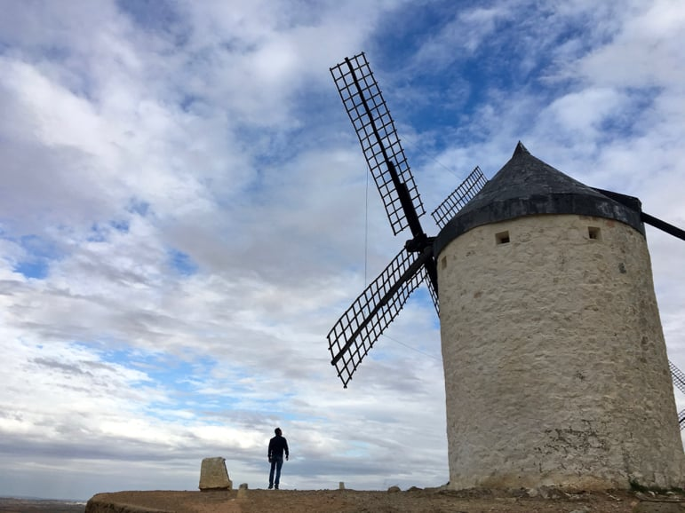 Dwarfed by giants - Don Quioxte windmills in Consuegra