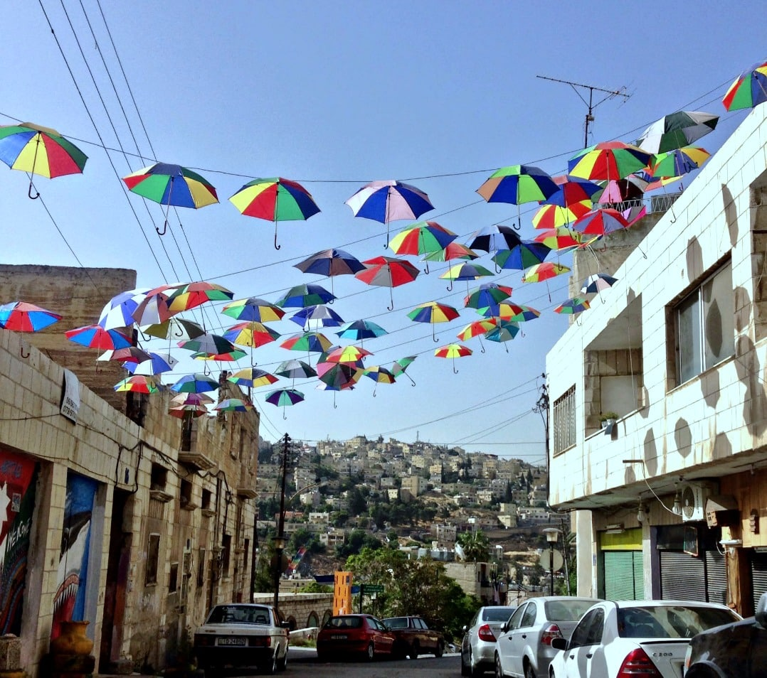 Jordan - umbrellas in Amman street