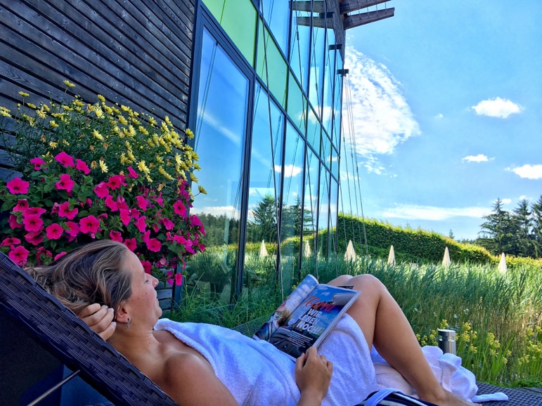 Sun deck at Hotel Schwarz Alm Zwettl, in Lower Austria