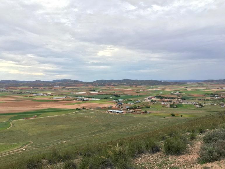 The flat plains of Castilla-La Mancha from Consuegra's windmills