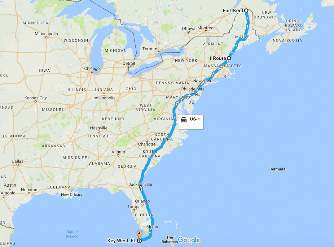 US road trip - an indicative Google map of the US1 route
