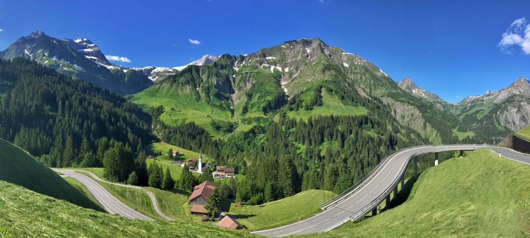 The road between Lech and Bregenzerwald in Vorarlberg, Austria