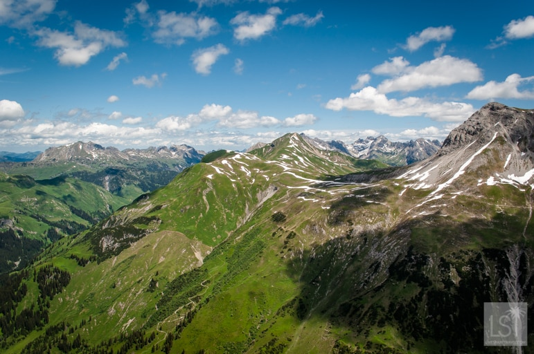 Scenic views from Mt Rufikopf, high about Lech