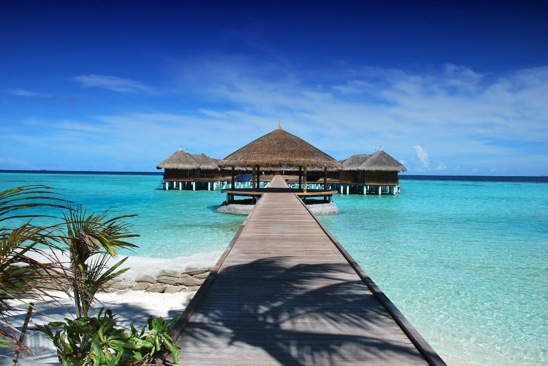 Places to go for winter sun - bungalows on stilts in Maldives