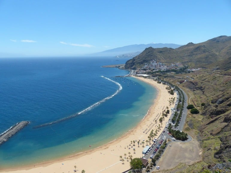 Places to go for winter sun - view of beach in Tenerife, Canary Islands