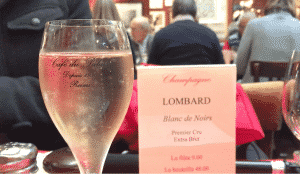 Champagne at Cafe du Palais in Reims