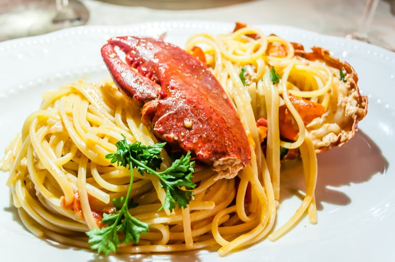 Lobster linguine at the Lo Zodiaco restaurant