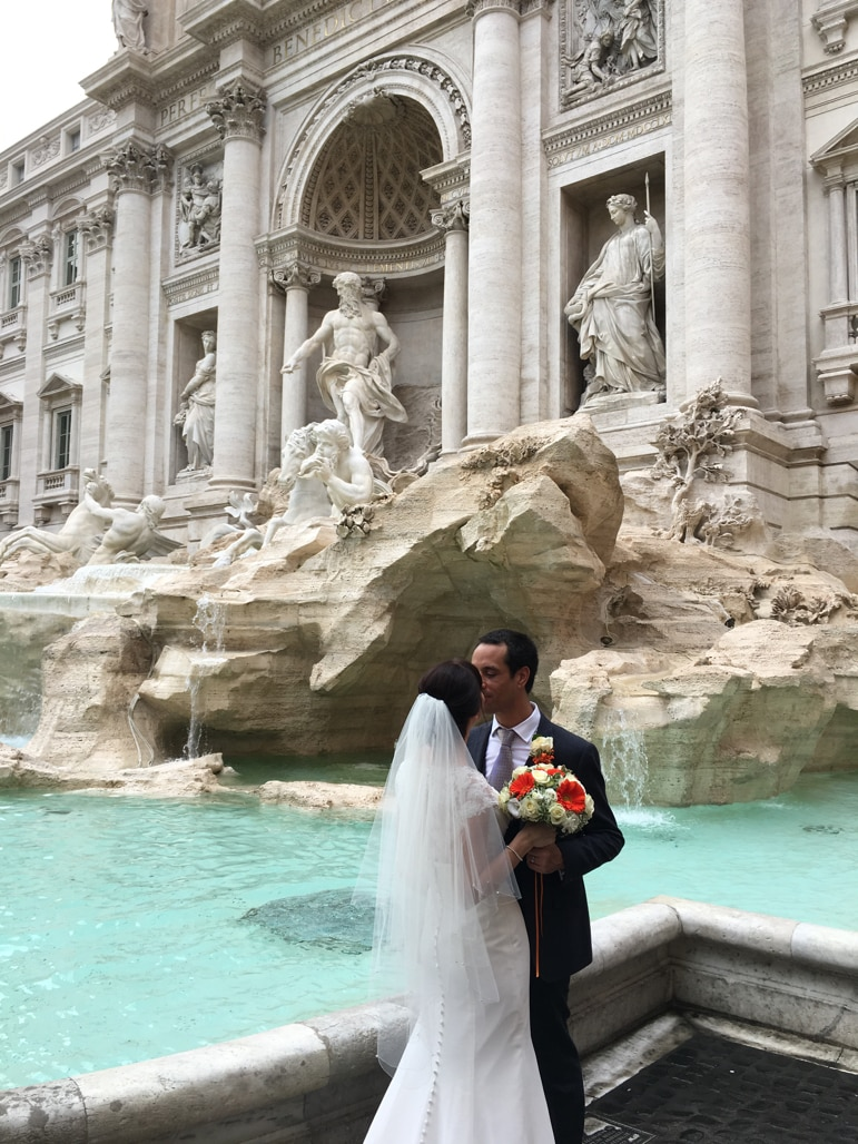 We met these newly weds at the Trevi Fountain