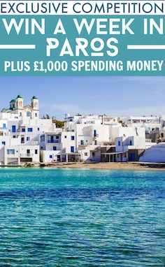 Win a one-week stay at Anezina Village in Paros, plus £1,000 spending money