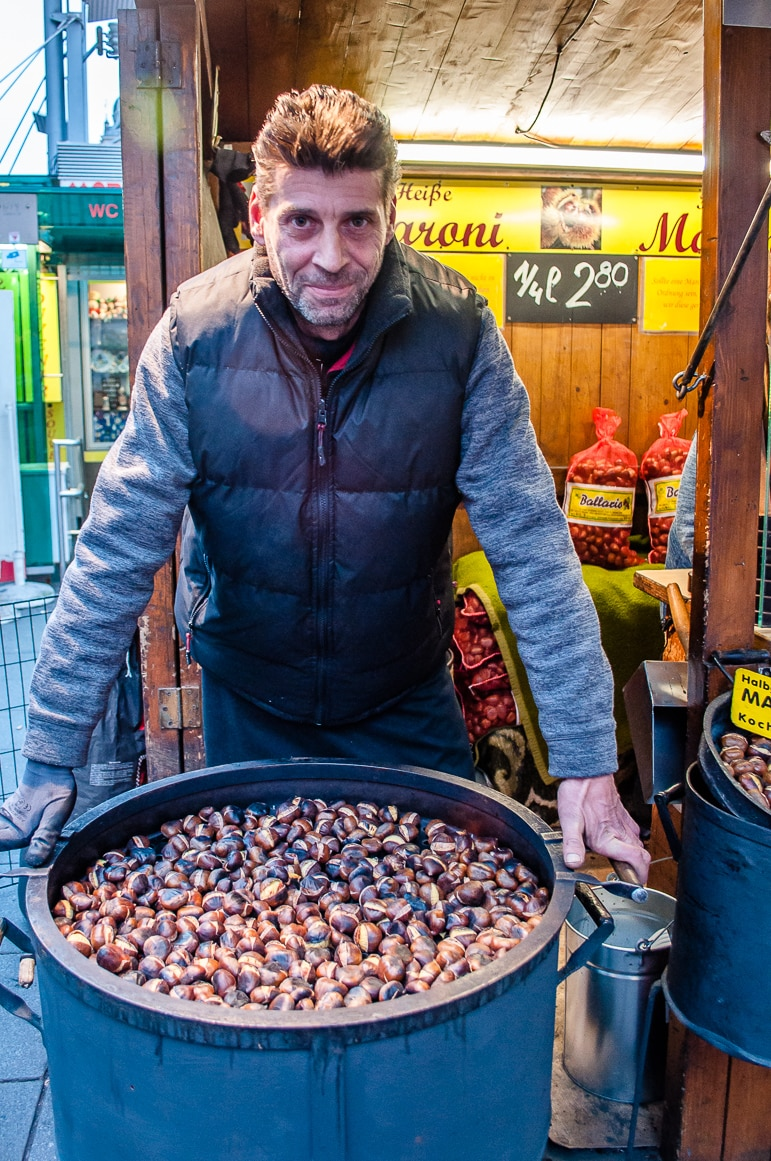 Chestnuts roasting on an open fire in Austrian Christmas markets