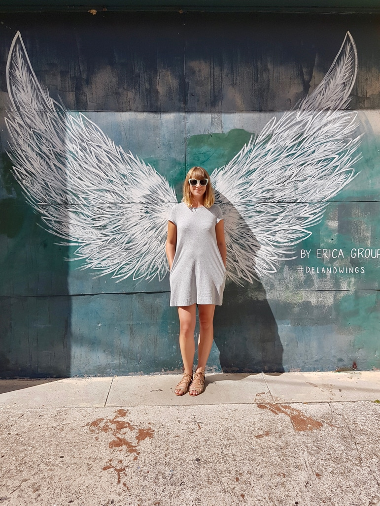 Daytona Beach attractions - posing with the DeLand Wings, in Artisan Alley