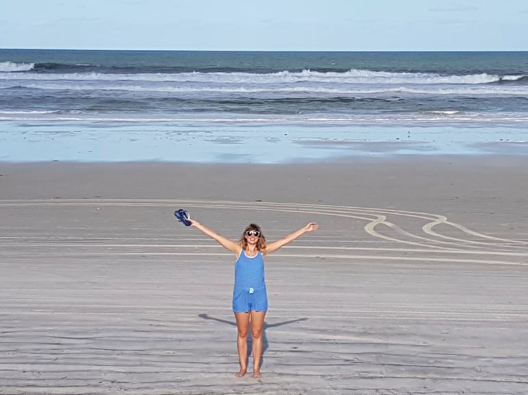 Ella making the most of the Daytona Beach attractions - starting with the beach itself