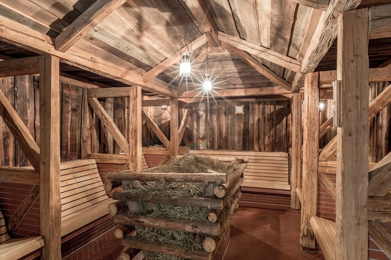 Hay sauna at the Aqua Dome Hotel