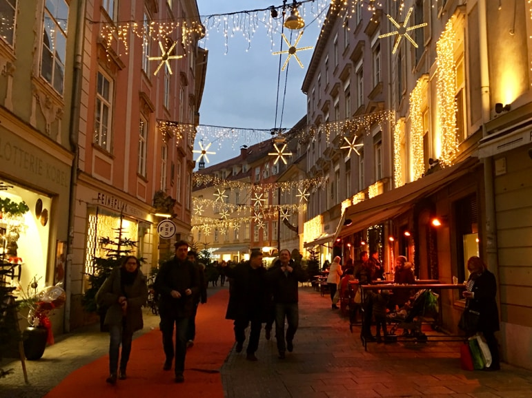 Characterful streets in Graz as we visit the Austrian Christmas markets