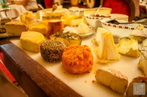 Extensive cheese board at the Michelin star restaurant in the La Birqueterie Hotel