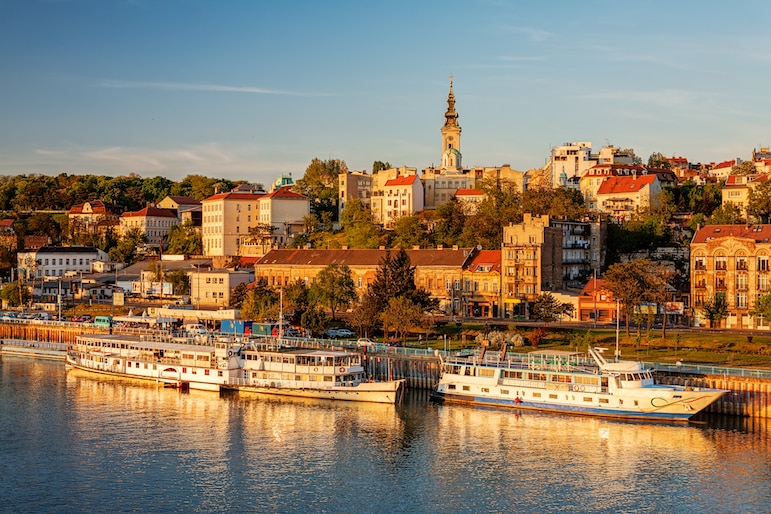 A sunny day in Belgrade on the River Sava