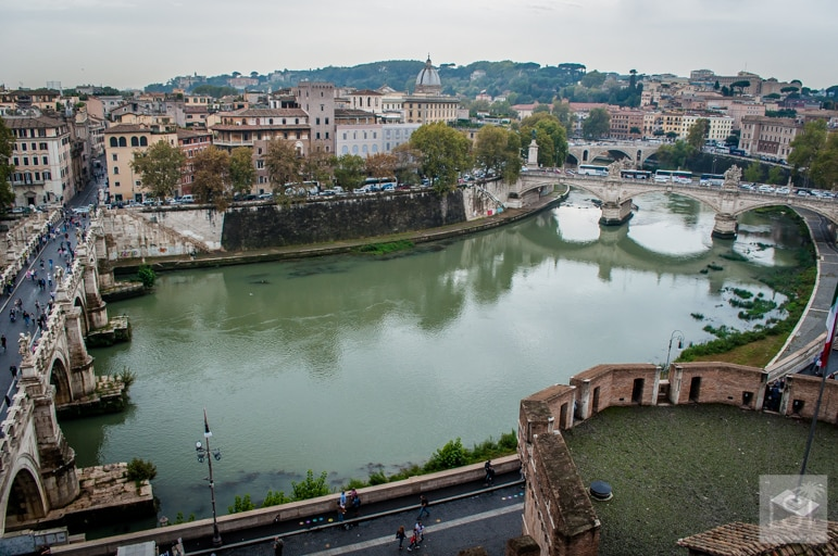 Looking over the River Tiber from Castel Sant'Angelo