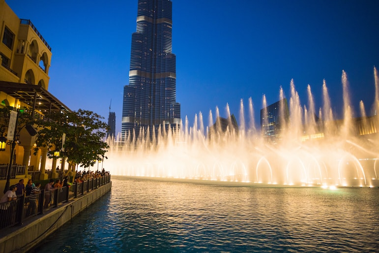The performing fountains on Burj Khalifa Lake