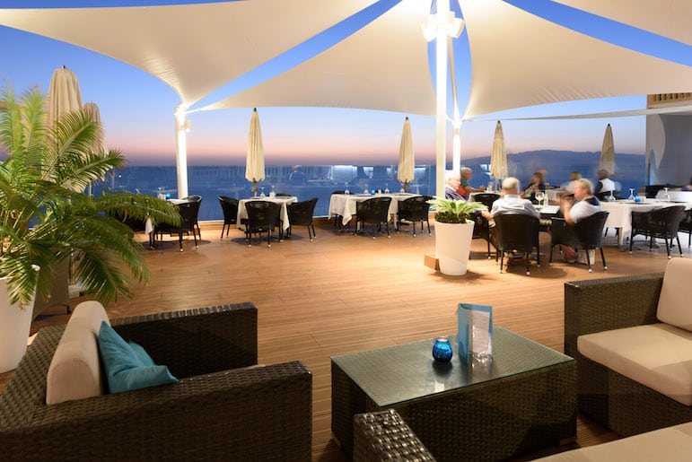 The Edge Bar and Restaurant at night at Pearly Grey, one of the best RCI resorts in Tenerife