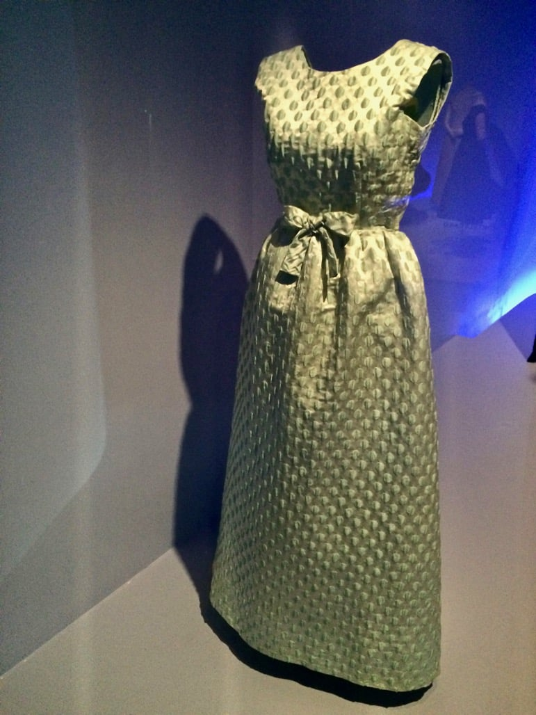 Evening dress in water green with polka dots, designed by Balenciaga for the Duchess of Manchester in 1960