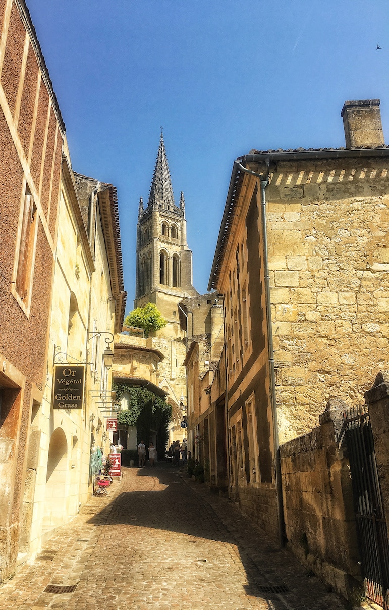 All cobblestone streets lead to the Bell Tower in Saint-Emilion, in south west France