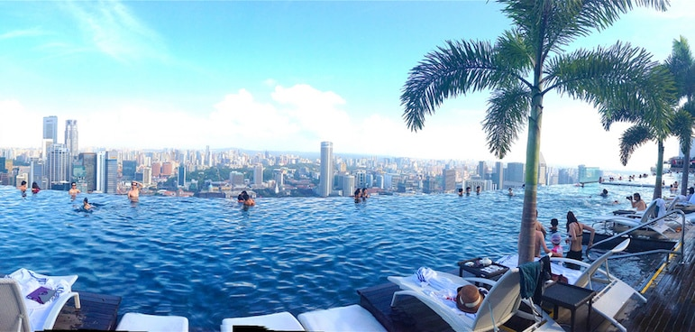Much photographed Marina Bay Sands in Singapore is undoubtedly one of the world's best pools for its views | Pic: Sarah Ackerman