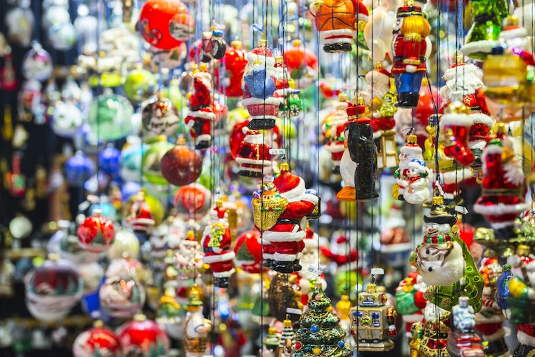 Ornaments on sale at one of Munich's Bavarian Christmas Markets