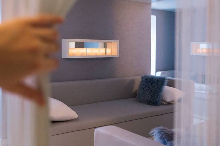 The relaxation lounge at Ten Spa allows you to stretch out the me time