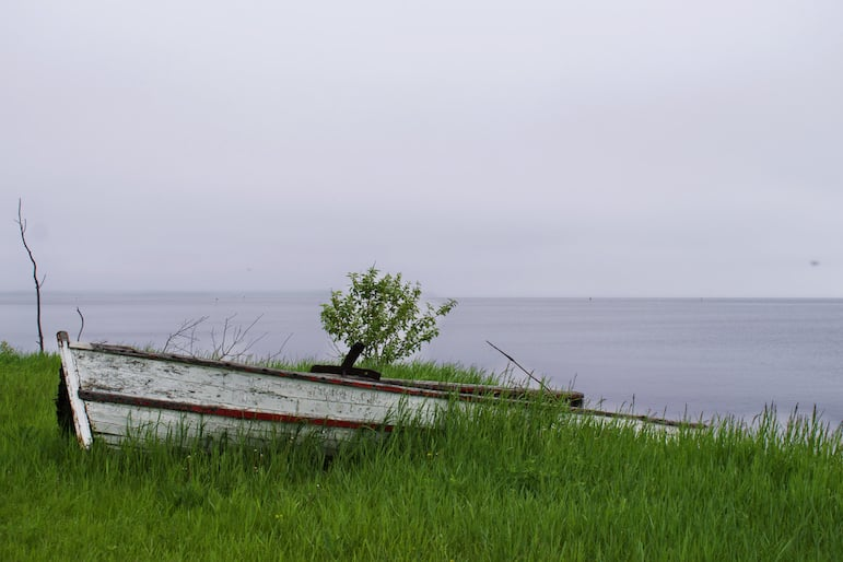 A York boat traditionally used by Icelanders to fish on Lake Winnipeg