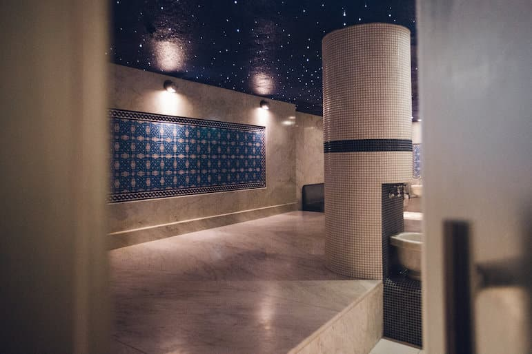 The subdued surroundings of the Hamam room at Ten Spa