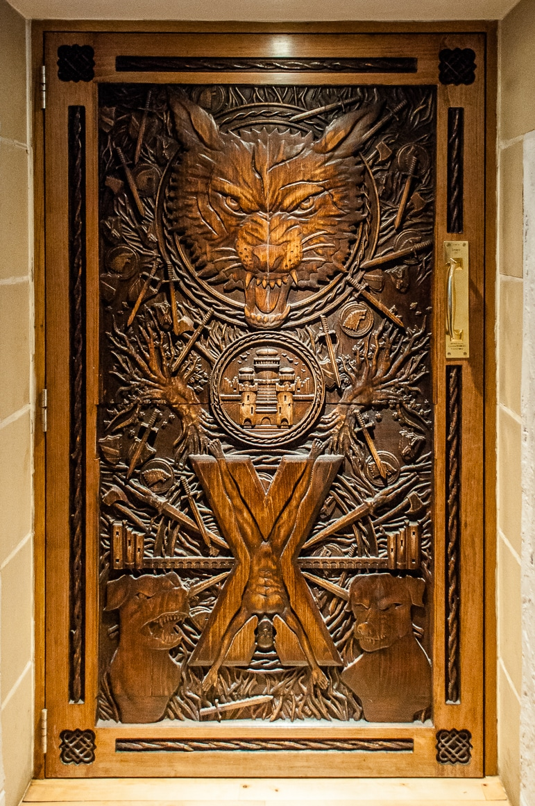 Doors of Thrones - one of the Game of Thrones doors at Ballygally Castle Hotel