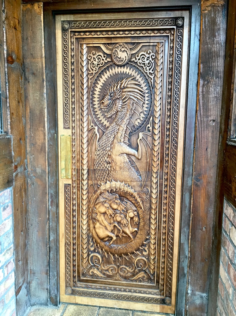 Doors of Thrones - the Game of Thrones door at the Fullerton Arms pub in Ballintoy Harbour