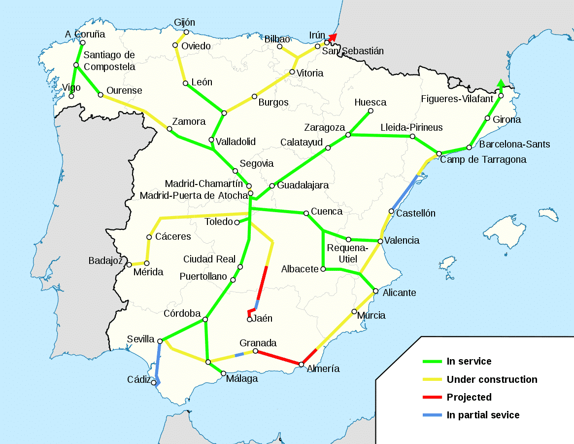 Train travel in Spain map of AVE routes | pic HrAd