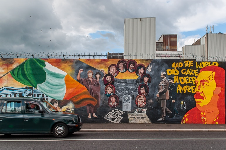 History on the Peace Wall along the the Falls Road