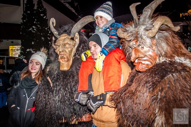 Kids loving the scary Krampus demons