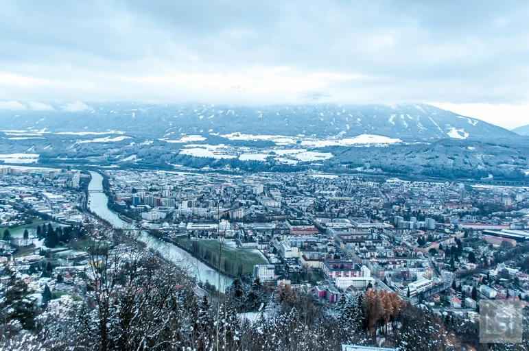 Looking over Innsbruck from Hungerburg Christmas market