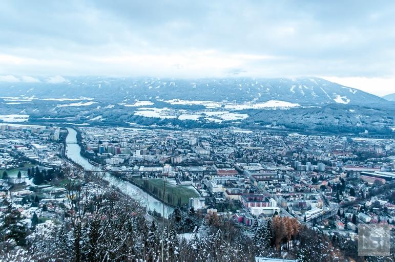 Looking over Innsbruck from Hungerburg Christmas market