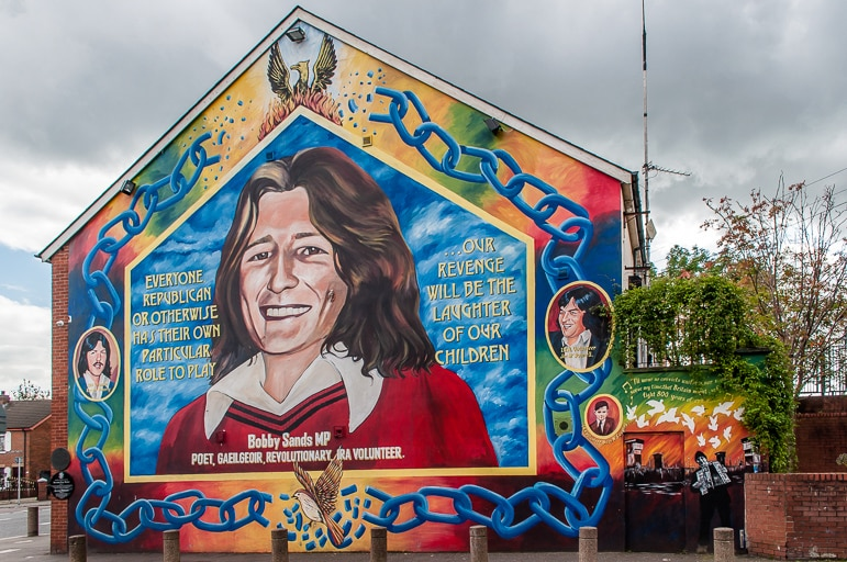 Murals used to tell the news of the day in Belfast. This one features Bobby Sands and other hunger strikers who lost their lives during the Troubles