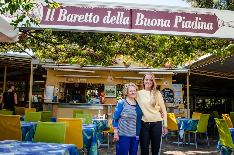 Bar Ilde owner Ilde Urbinati, and her granddaughter Federica Bertarella welcomed us to our second piadina