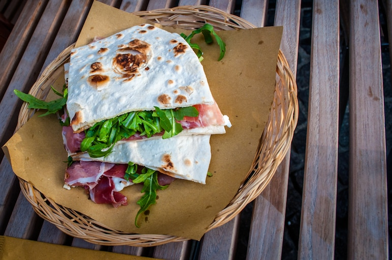 Fourth piadina of the day at Casina Del Bosco