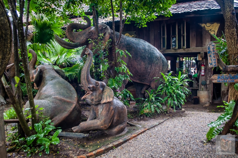 Life sized elephant carvings at Baan Jang Nak