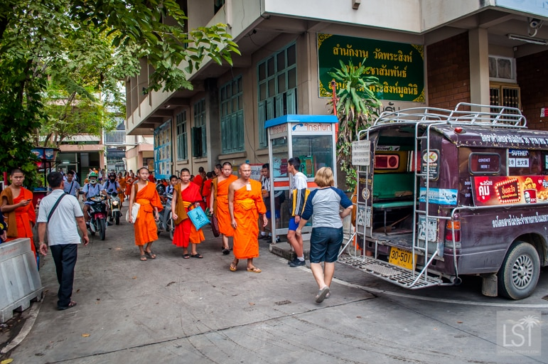Monks leaving the school next to Wat Phra Singh, Chiang Mai
