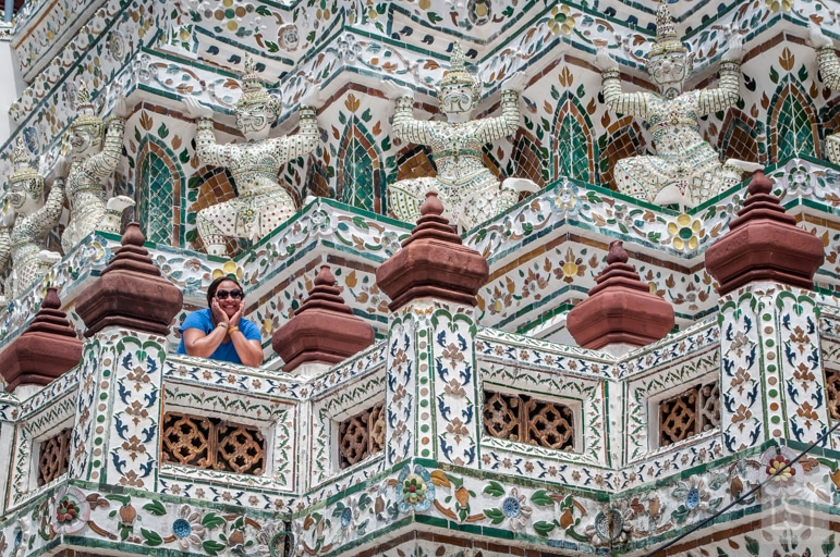 Sarah amid the grandeur of Wat Arun Bangkok