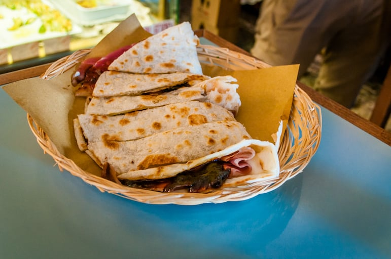 Tackling piadina number three at Dalla Lella
