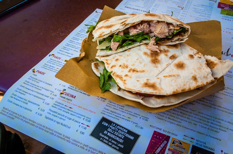 The first piadina tried was at the Nude Crud restaurant