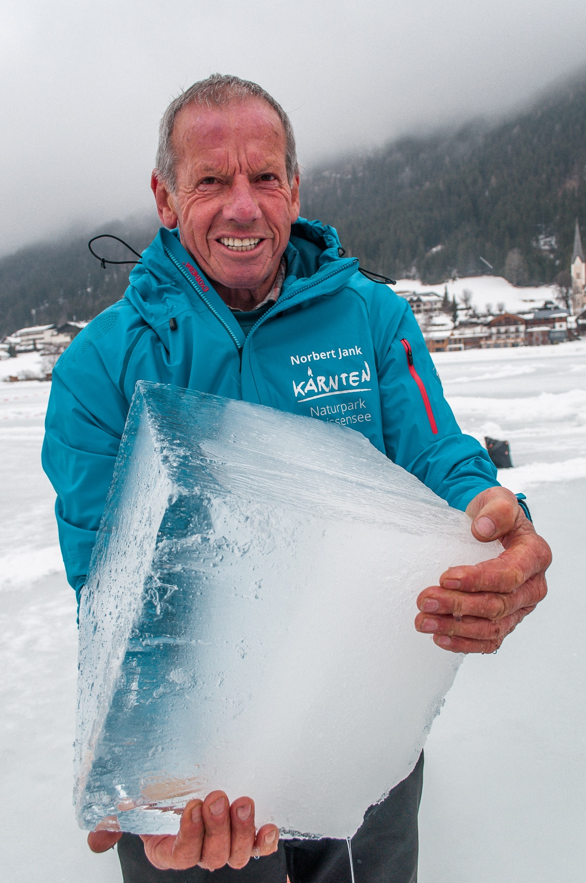 Eismaster Norbert Jank with some of Weissensee's finest frozen water