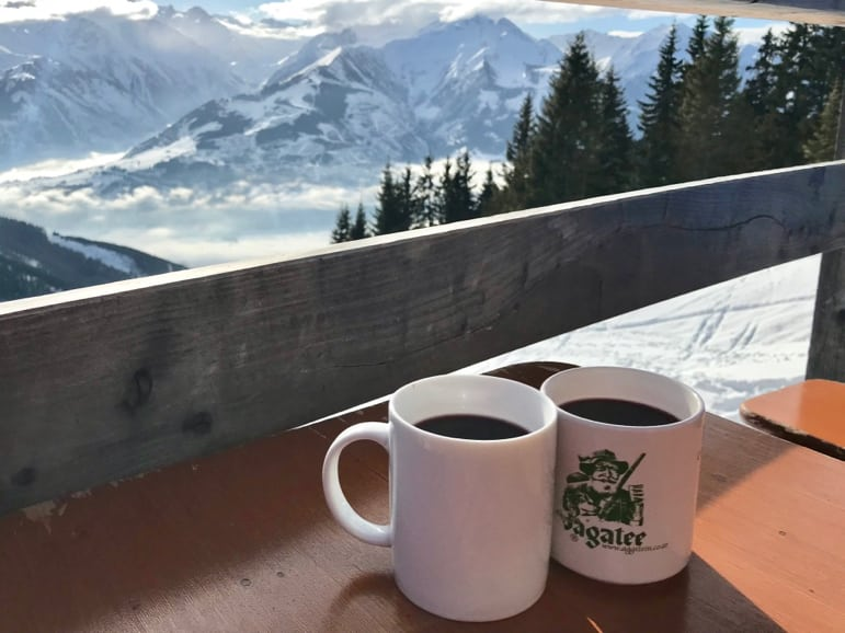 Glühwein with a view at Pinzgauer Hütte on Schmitten, Zell am See-Kaprun